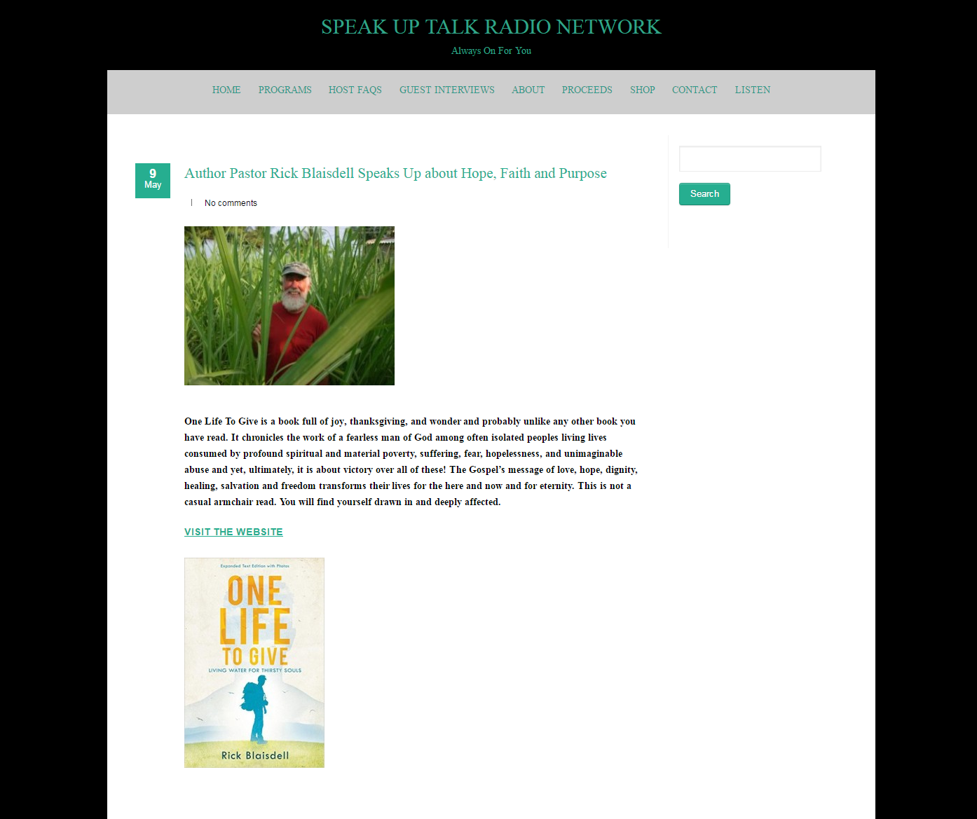 one life to give living water for thirsty souls events radio interview